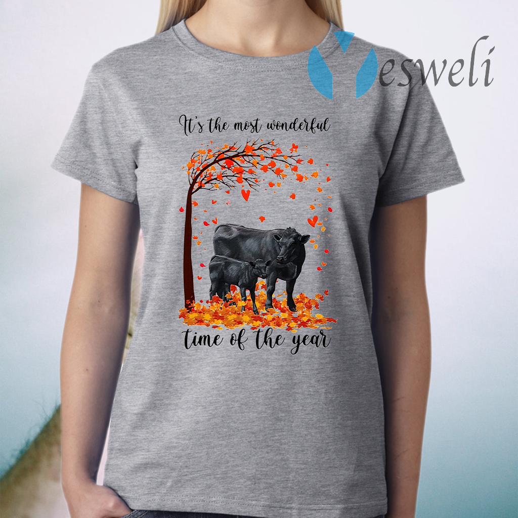 Angus cow its the most wonderful time of the year halloween tree T-Shirt