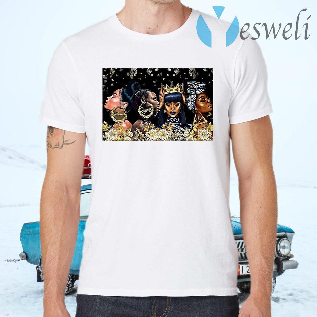Beautiful Black Woman Dope Poster Horizontal T-Shirts
