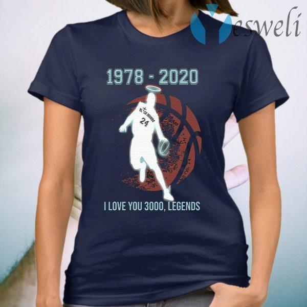 Black Mamba 1978 2020 I love you 3000 legends T-Shirt