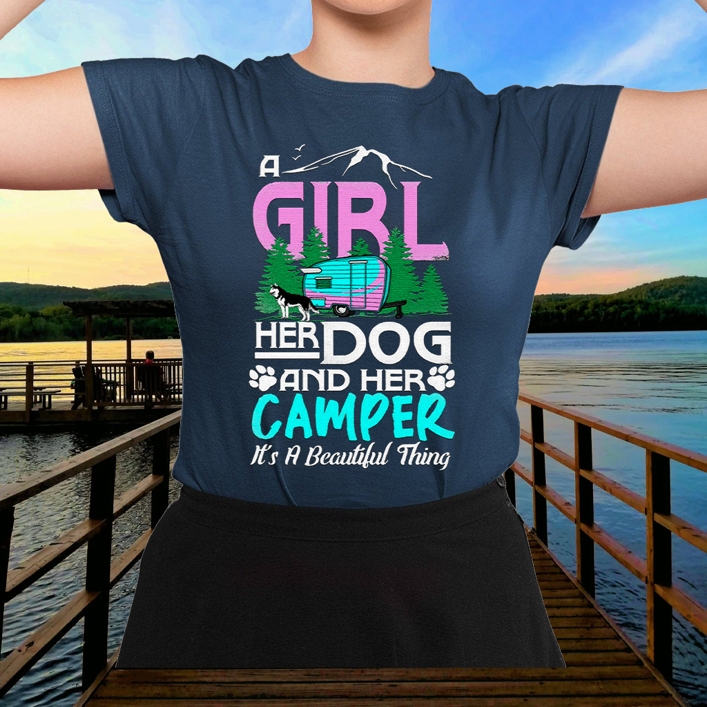 Camping A girl her dog and her camper its a beautiful thing T-Shirts