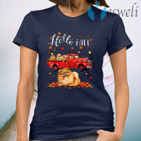 Maple Pomeranian Dog Leaf Fall Autumn Red Truck Womens T-Shirt
