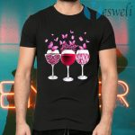 Pink Ribbon Wine Glass Butterfly Breast Cancer Awareness T-Shirts