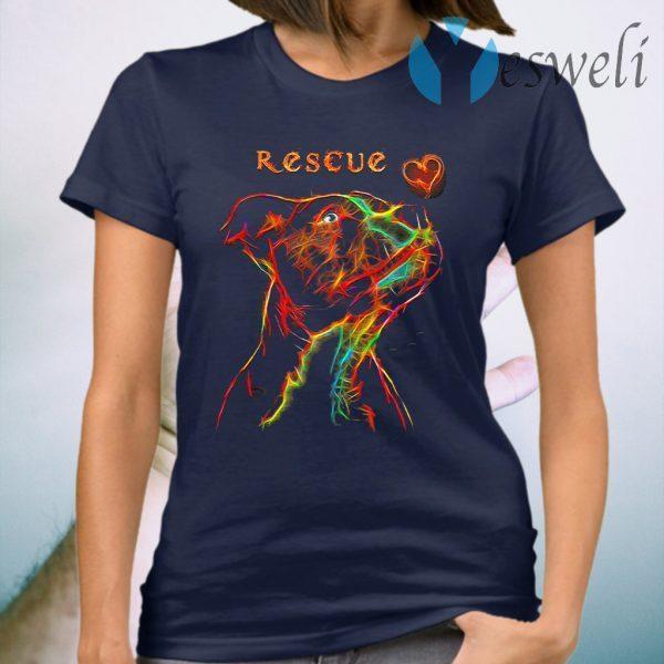 Pitbull Rescue heart colorful T-Shirt