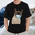 Siamese Cat Wearing Cat Face Mask Love Siamese Fun T-Shirt