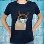 Siamese Cat Wearing Cat Face Mask Love Siamese Fun T-Shirts
