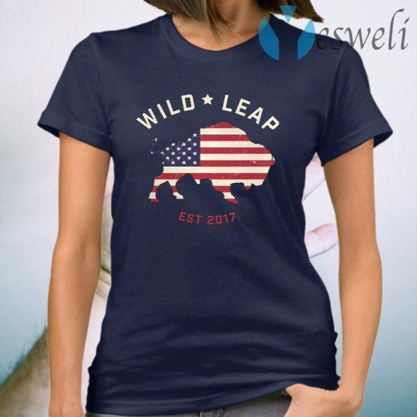 Stars & Stripes American Flag With Wild Leap Buffalo T-Shirt