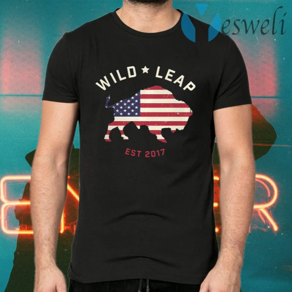 Stars & Stripes American Flag With Wild Leap Buffalo T-Shirts