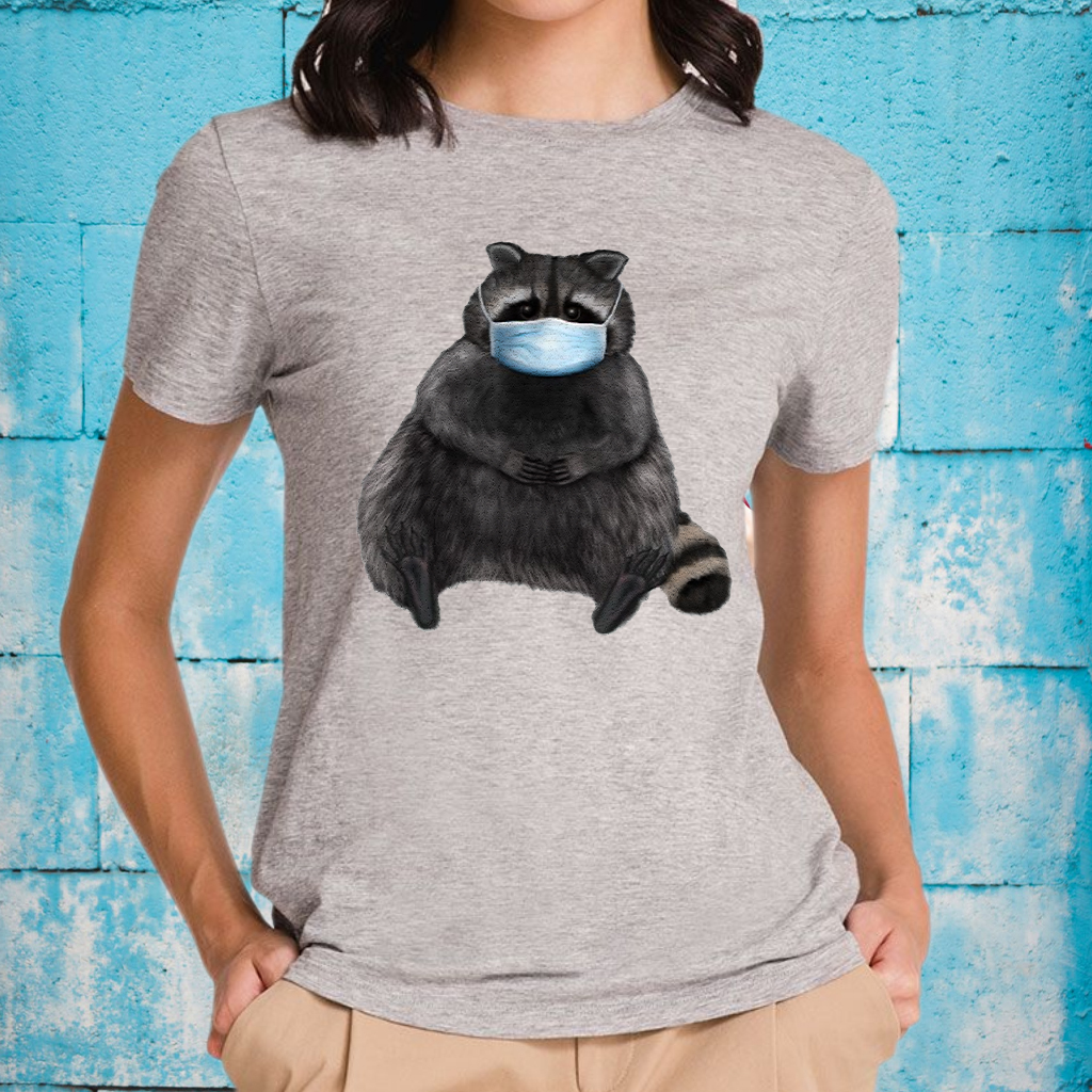 Sweet Racoon With Face Mask T-Shirt