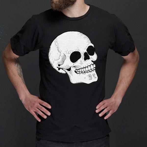 Woodcut Skull tattoo goth occult halloween Crewneck TShirt