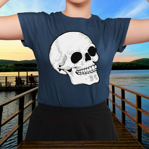 Woodcut Skull tattoo goth occult halloween Crewneck TShirts