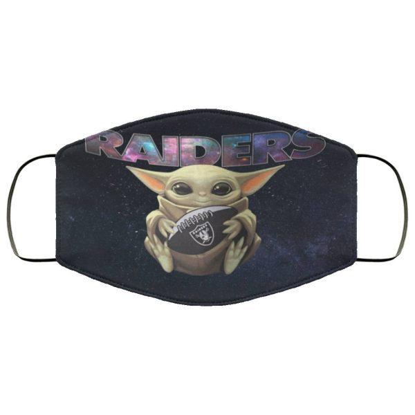 Baby Yoda Hugs Oakland Raiders Face Mask