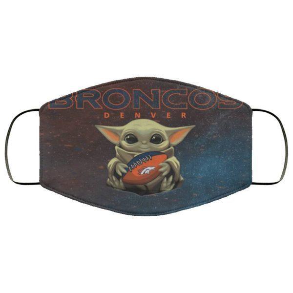 Baby Yoda Hugs Denver Broncos Face Mask