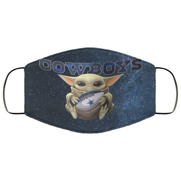 Baby Yoda Hugs Dallas Cowboys Face Mask