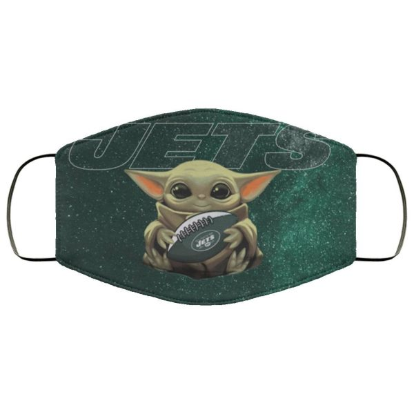 Baby Yoda Hugs New York Jets Face Mask