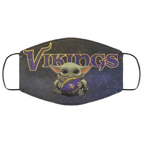 Baby Yoda Hugs Minnesota Vikings Face Mask