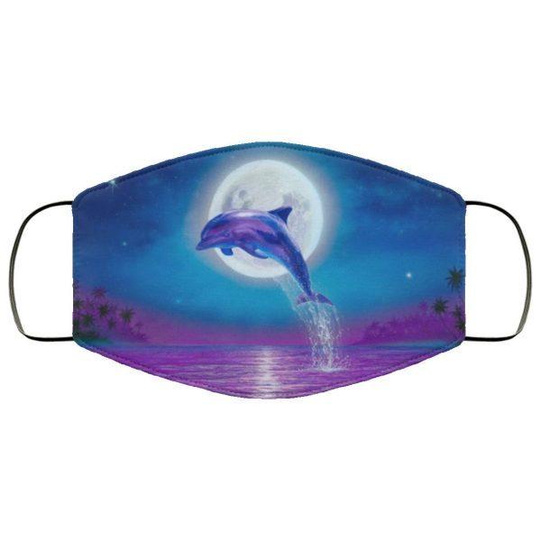 Dolphin Jumping Under Moonlight face mask