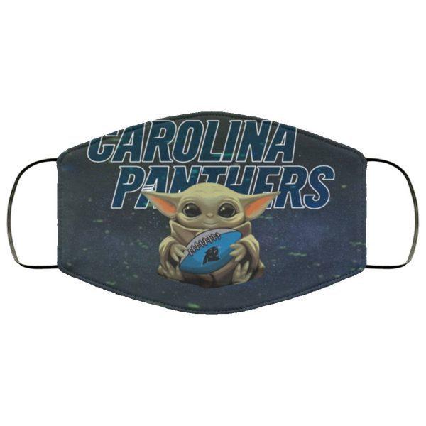 Baby Yoda Hugs Carolina Panthers Face Mask