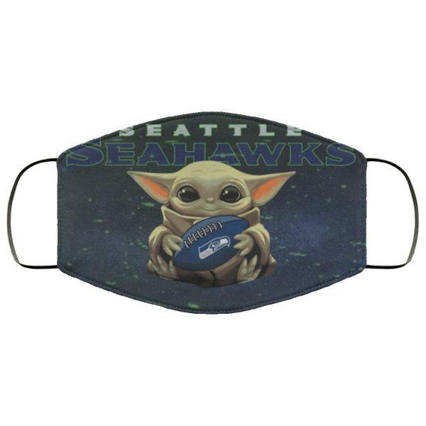 Baby Yoda Hugs Seattle Seahawks Face Mask