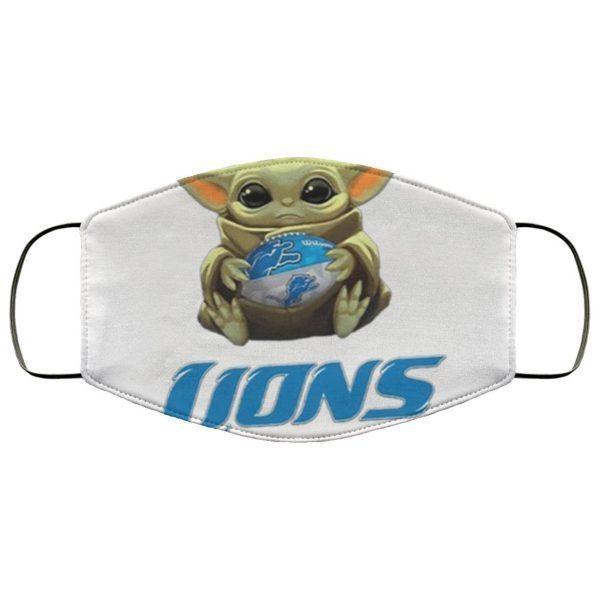 Detroit Lions Baby Yoda Face Mask