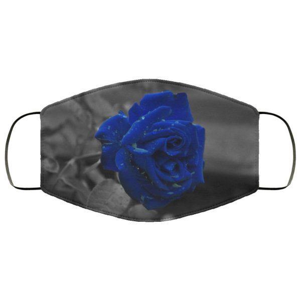 Black and Blue Rose Face Mask