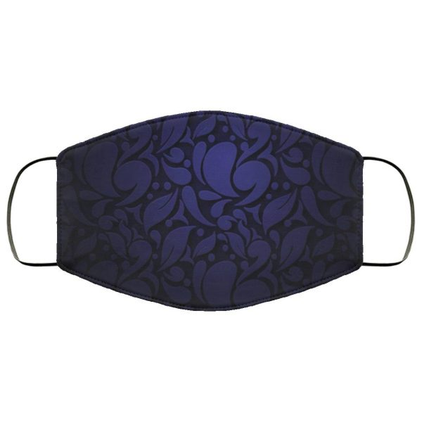 Dark blue abstract ornamental flowers Face Mask