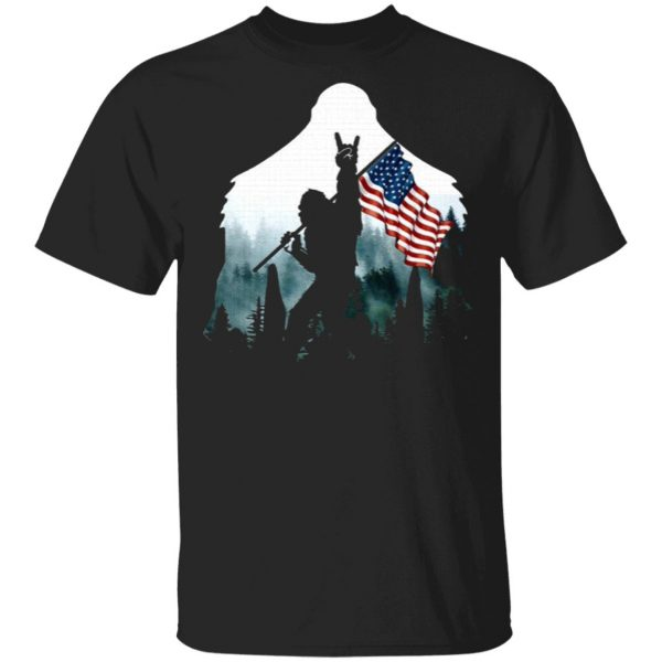 American flag Bigfoot Sasquatch Peace Victory Sign T-Shirt