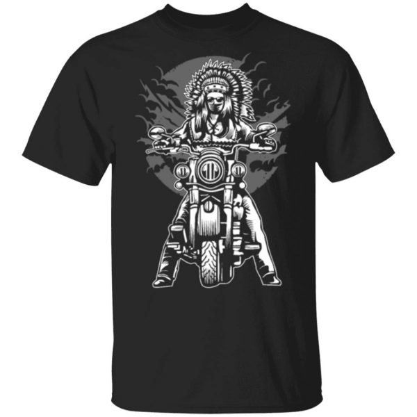 Native American Biker Motorcycle 0379 T-Shirt