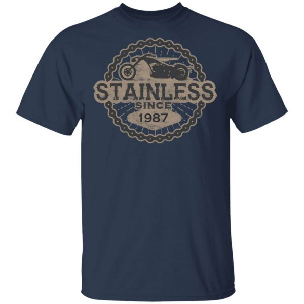 Stainless Biker Born Ride Road Old 1987 0556 T-Shirt