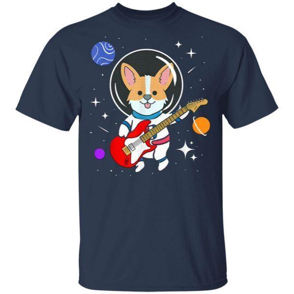 Astronaut Corgi Playing Guitar Funny T-Shirt