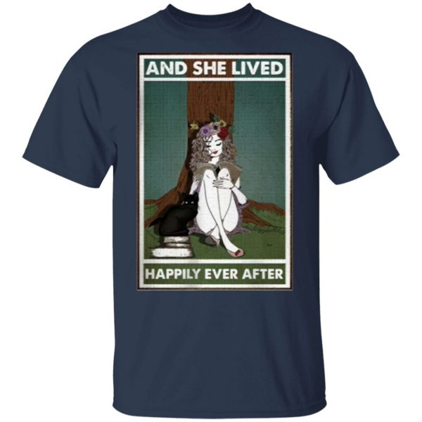 Hippie Girl Reading And She Lived Happily Ever After Shirt