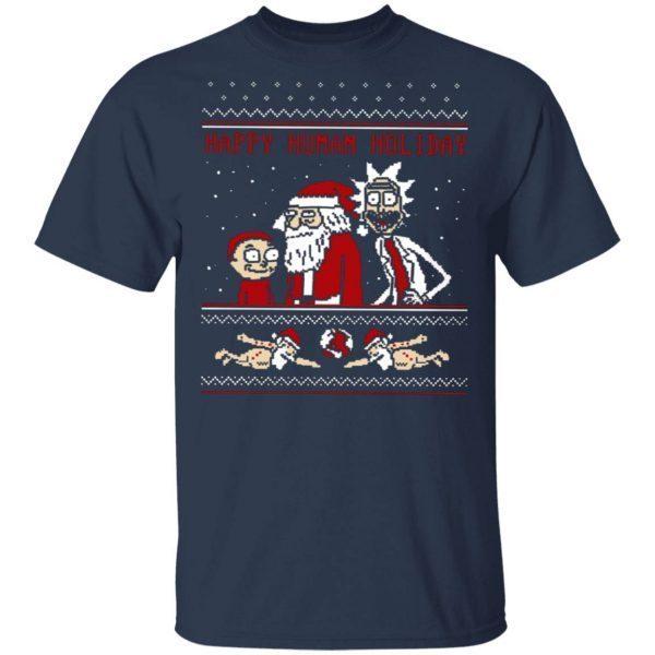 Rick And Morty Happy Human Holiday Ugly T-Shirt