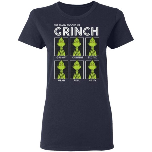 The many moods of Grinch Christmas t shirt