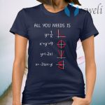 All You Need Is Love Math Funny Math Functional Math T-Shirt
