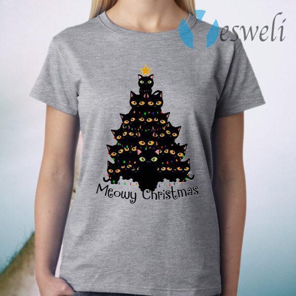 Black Cats Meowy Christmas Tree T-Shirt