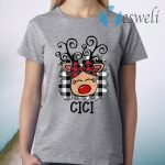 CiCiReindeer Red Plaid Christmas Pajama Family T-Shirt