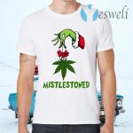 Grinch Hand Holding Weed Mistlestoned Christmas T-Shirts