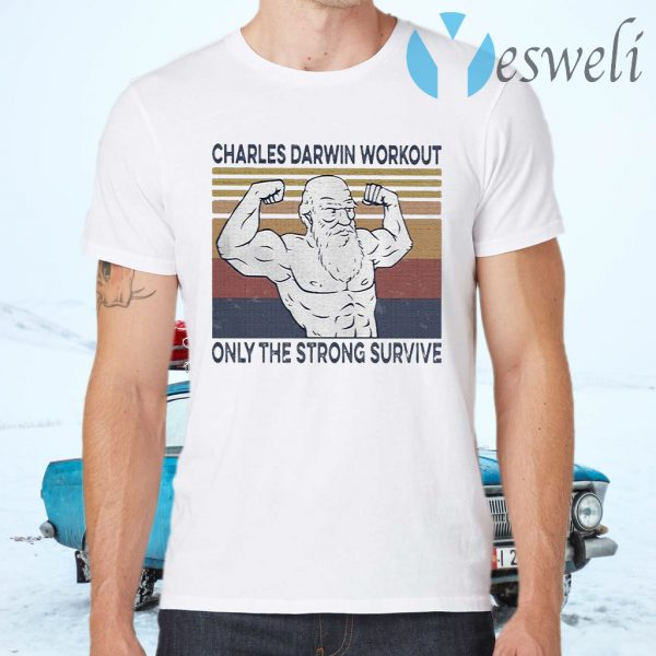 Gym Charles darwin workout only the strong survive vintage T-Shirts