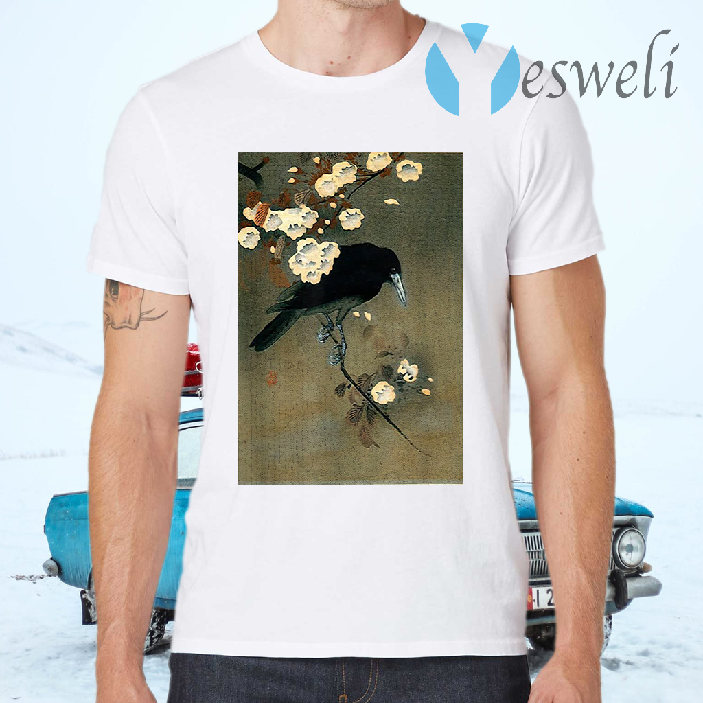 Japanese Aesthetic Crow Cherry Blossom Woodblock T-Shirts