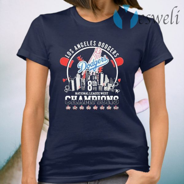 Los Angeles Dodgers 8th National League West Champions Star Baseball 2020 T-Shirt