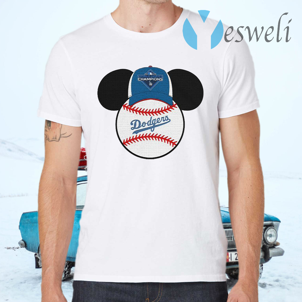 Los Angeles Dodgers Mickey Mouse Champions 2020 MLB T-Shirts