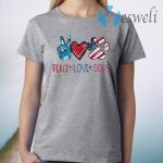 Peace Love Dogs Paw American Flag T-Shirt