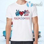 Peace Love Dogs Paw American Flag T-Shirts