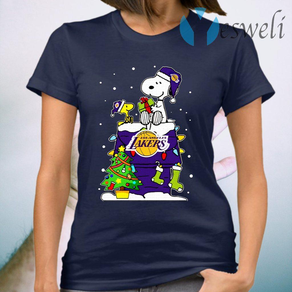 Snoopy Lakers Ugly Christmas T-Shirt