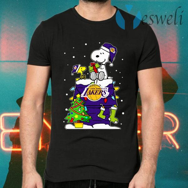 Snoopy Lakers Ugly Christmas T-Shirts