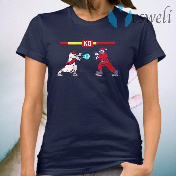 Street Fight Jesus Vs Santa T-Shirt