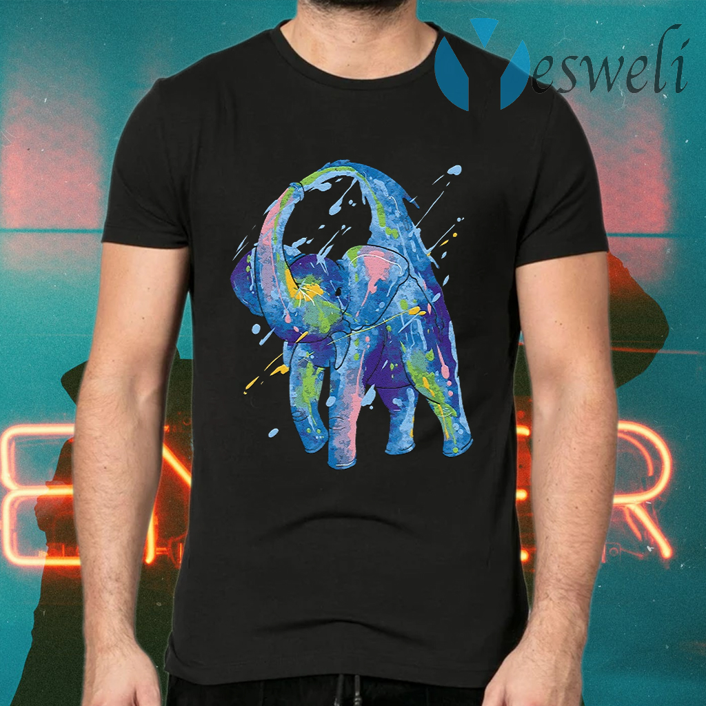 Watercolor Elephant Shower African T-Shirts