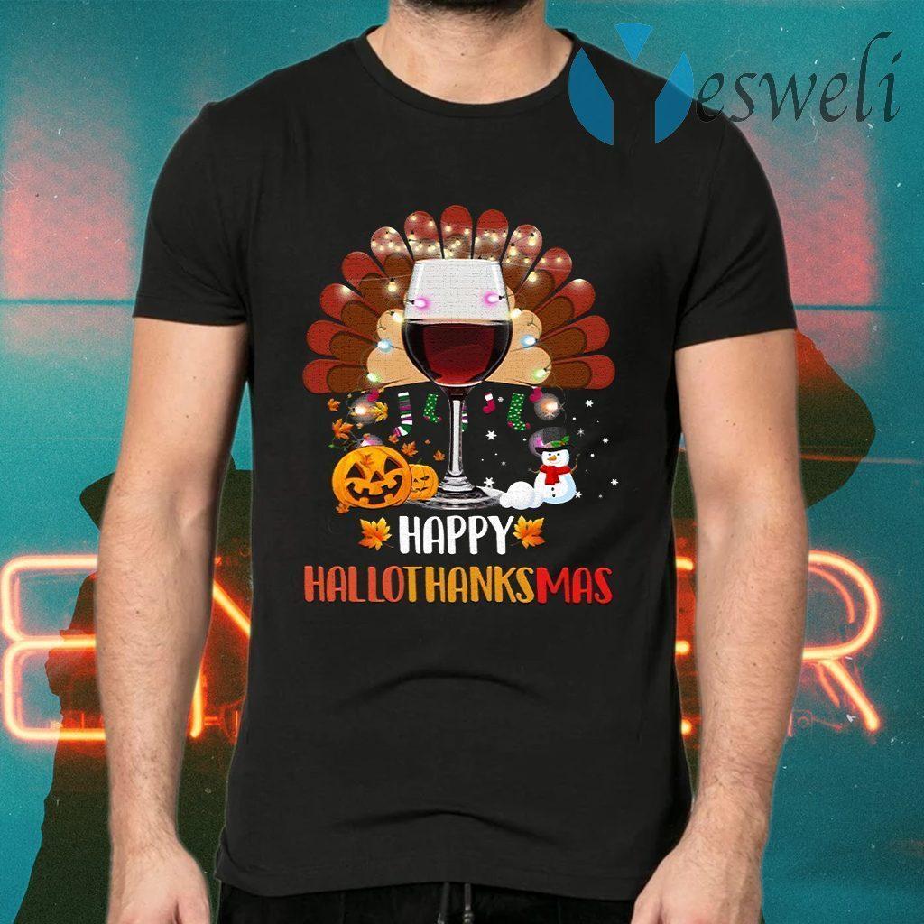Wine Turkey Happy Hallothanksmas T-Shirts