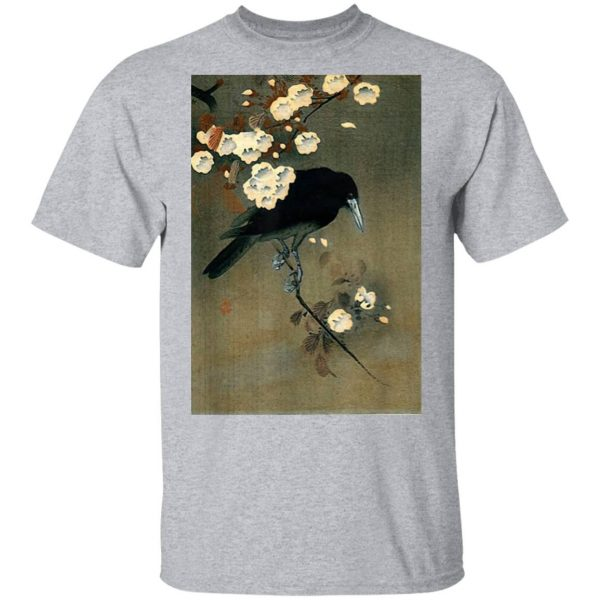 Japanese Aesthetic Crow Cherry Blossom Woodblock T-Shirt
