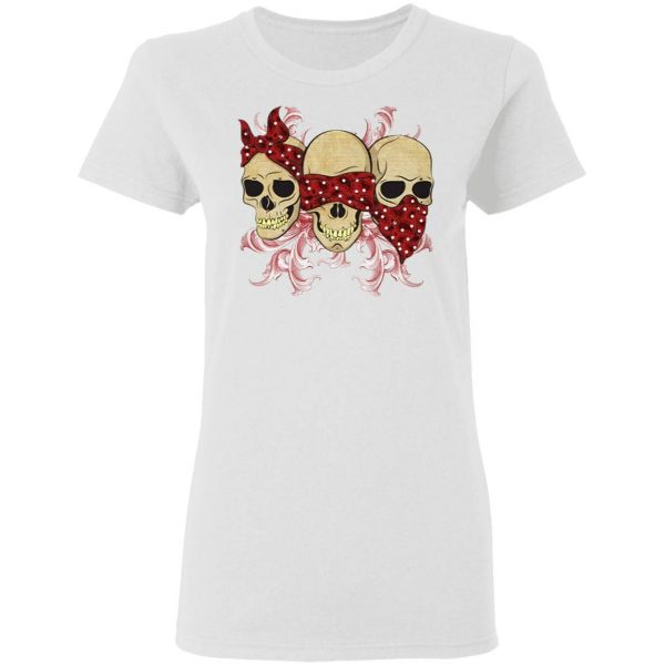 Three Skulls With Red Bandanas T-Shirt