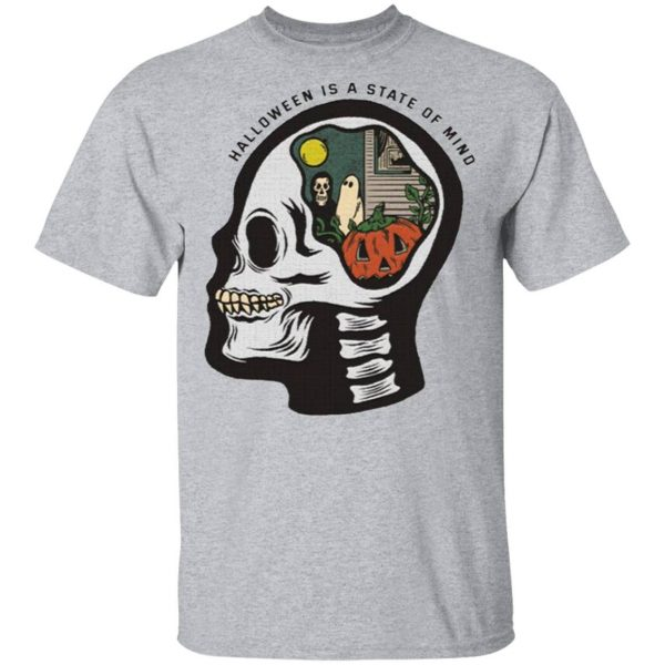 Halloween Is A State Of Mind Skull T-Shirt